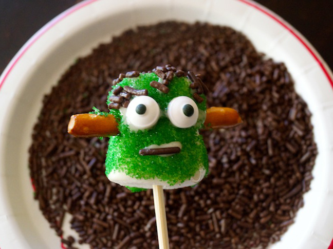 green marshmallows-pretzels-eyes-frankenstein-chocolate sprinkles