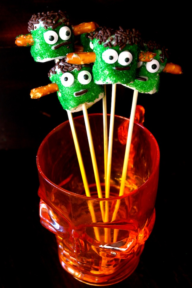green marshmallows-pretzels-eyes-frankenstein-orange skull glass