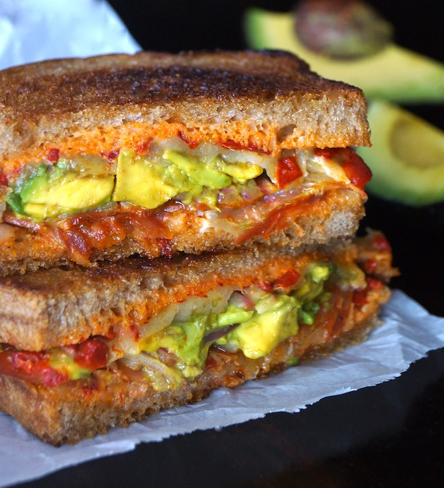 grilled cheese sandwich-avocado-green-red-toast-white paper