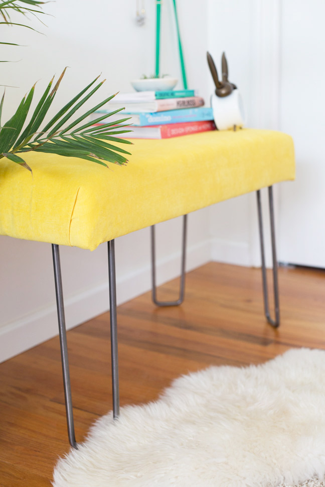 diy-yellow-velvet-bench-palm-frond