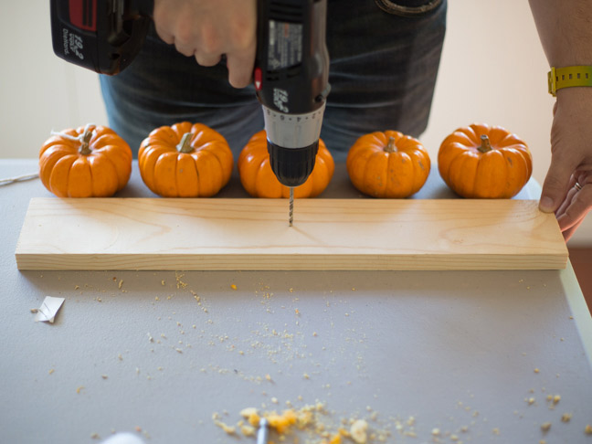 drilling-into-wood-mini-pumpkins