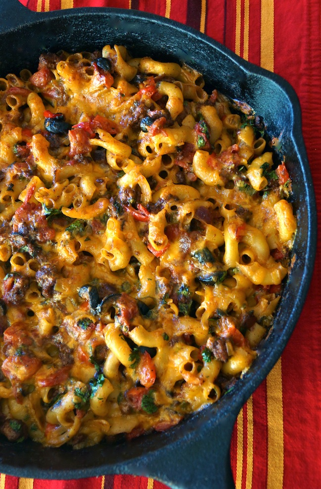 macaroni-meat and vegetables-red-cast iron skillet