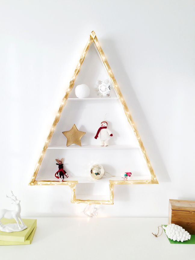 DIY Lit Christmas Tree Wall Shelf | Shauna Younge for Momtastic