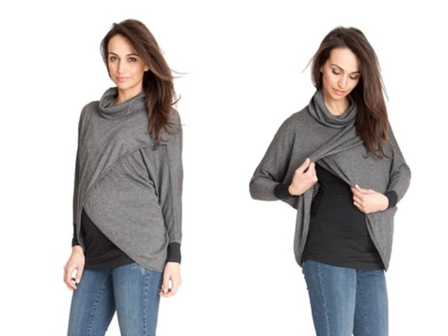 gray nursing maternity turtleneck