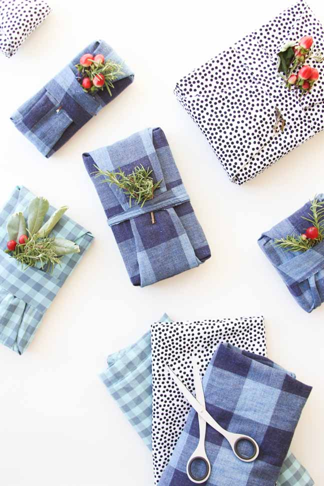 Fabric Wrapped Holiday Gifts