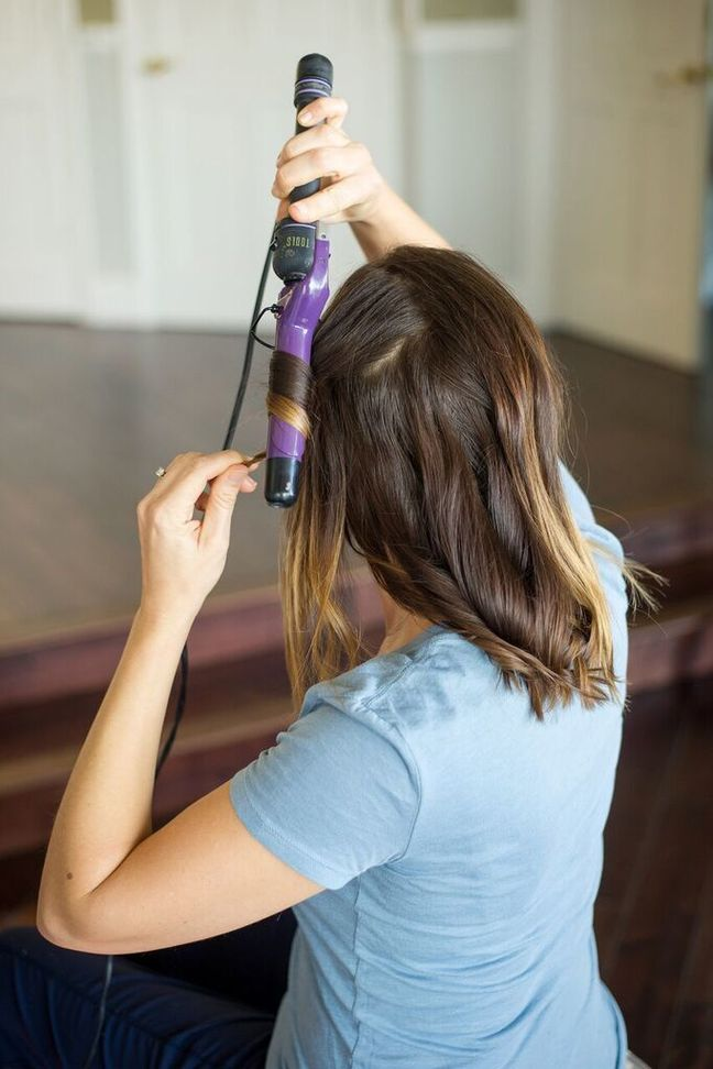 brown hair curling iron