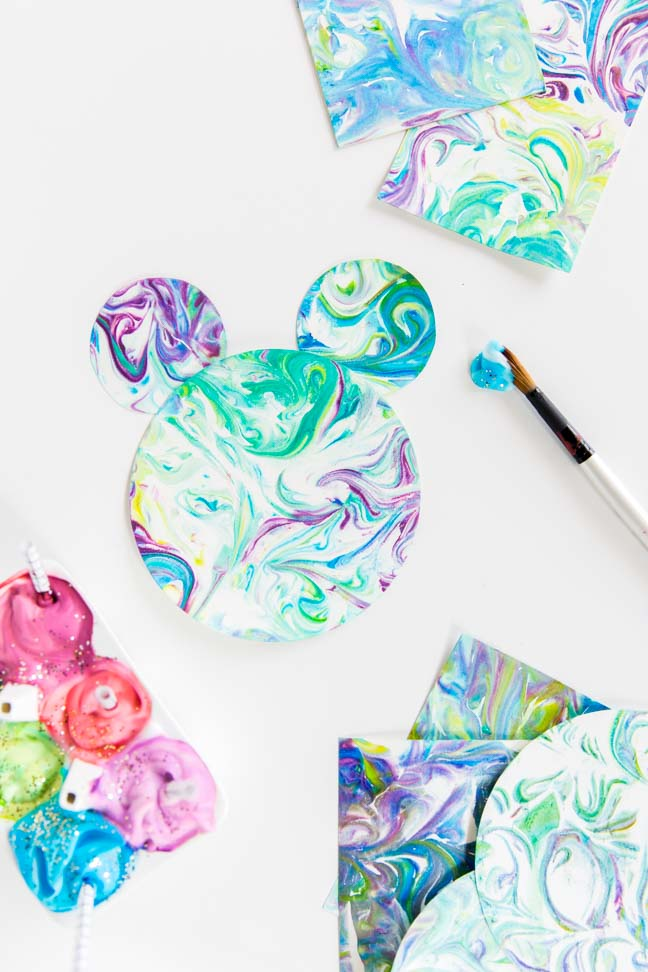 marbled paint mickey mouse