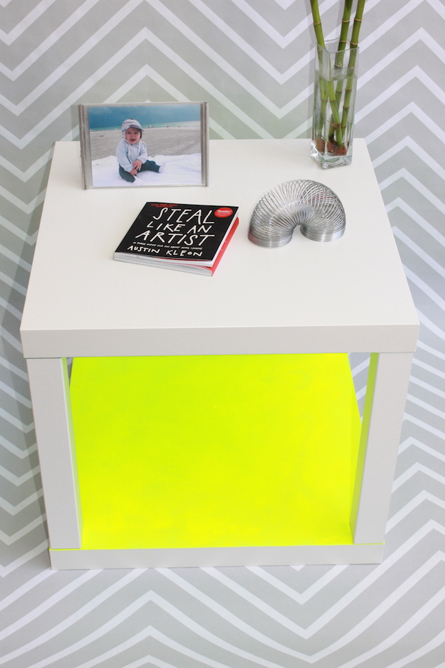 neon yellow accent side table