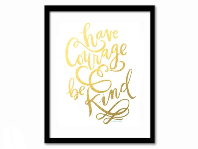 courage-kind-frame-gold-foil-room-decor-cinderella-inspiration
