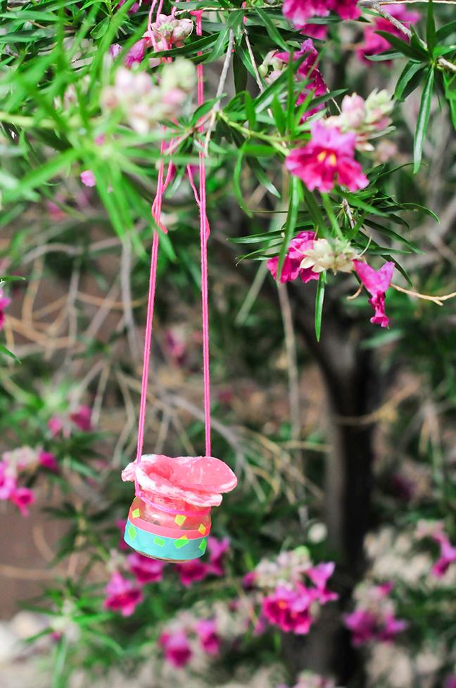 diy pink jar butterfly feeder