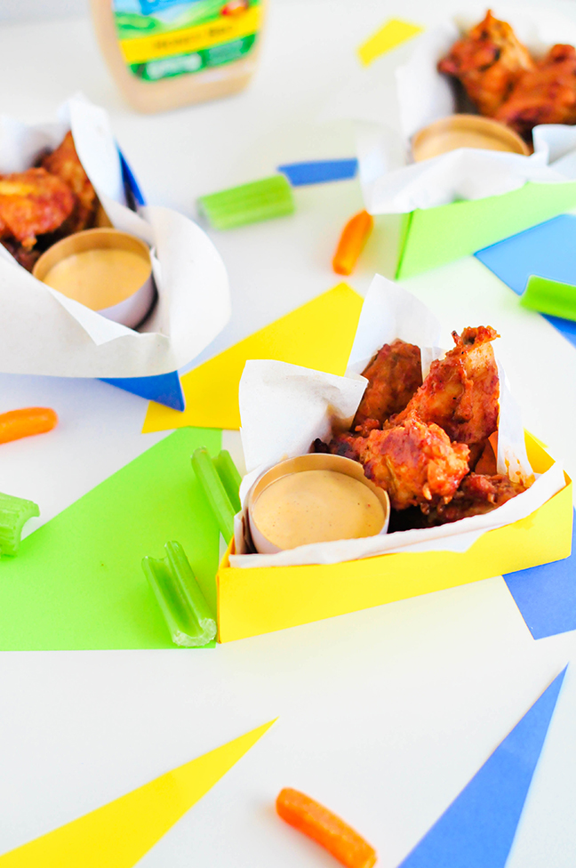 triangle boxes with wings and dip