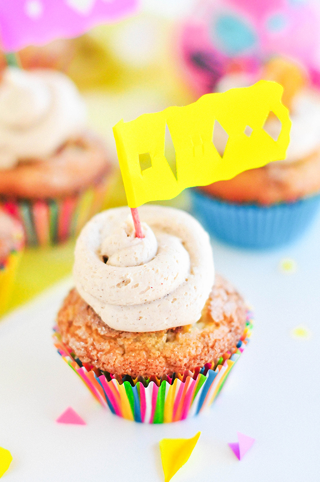 churro cupcake with papel picado flag