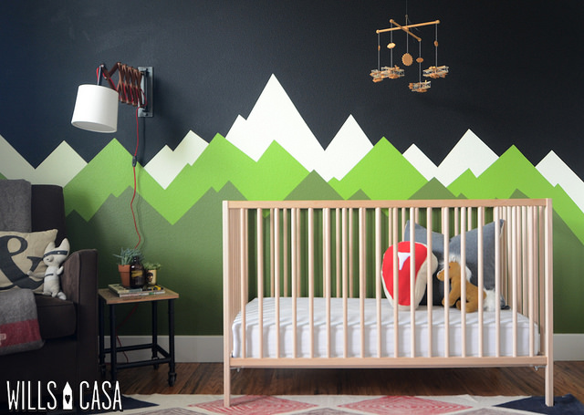 graphic mountain wall art wood crib