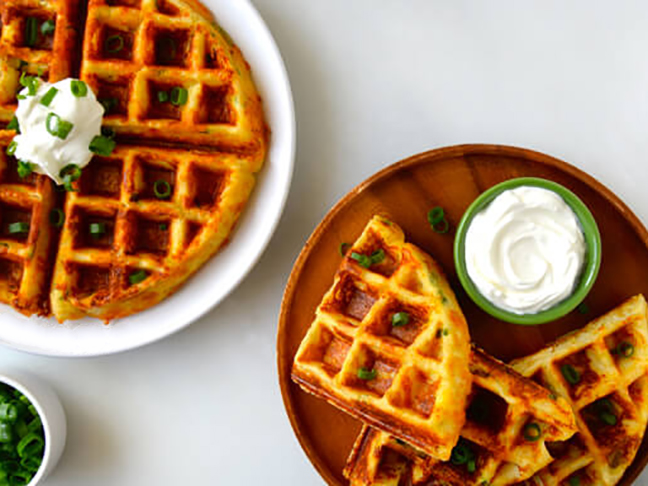 waffles topped with sour cream