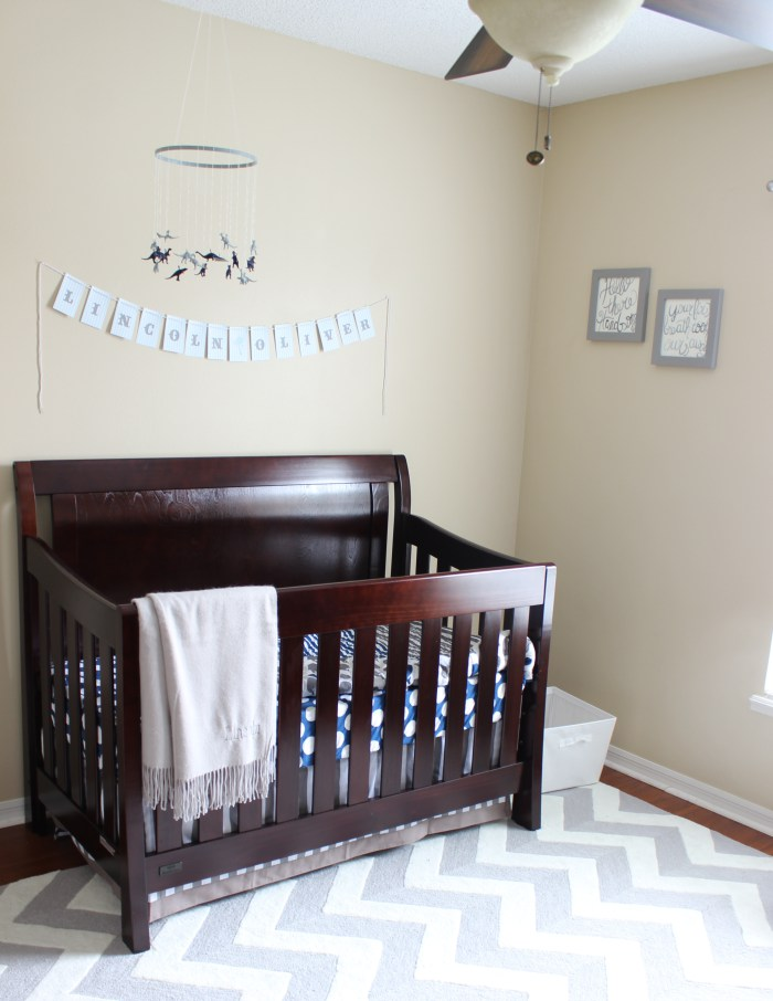 large dark wooden crib