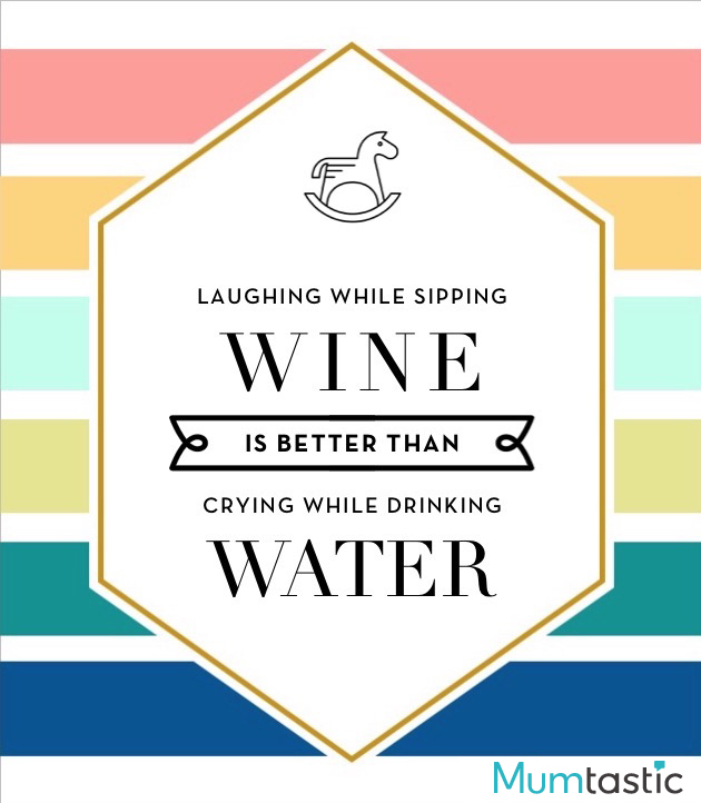 Wine labels for mum - laughing while sipping wine