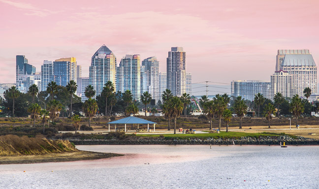 Mission Beach Sunset and View of Downtown, San Diego California