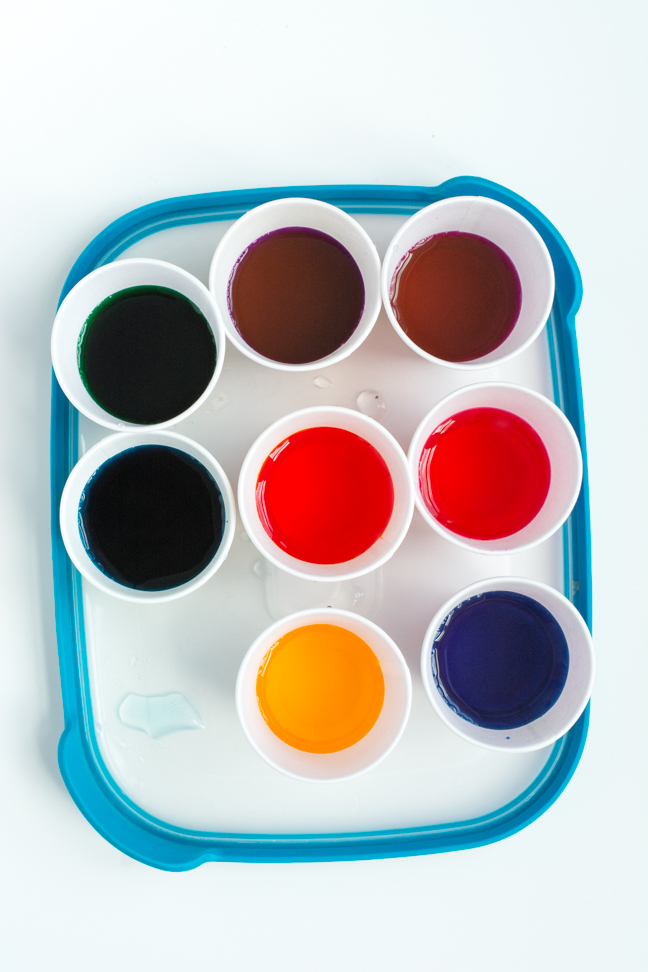 tray of colored dyes