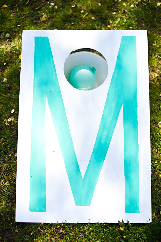 diy cornhole game letter M