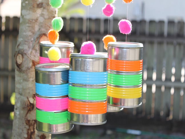 final 3 How to make a tin can windchime using colorful duct tape
