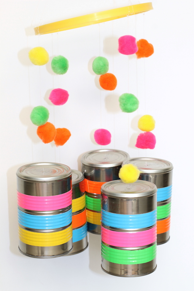 tin cans with duct tape and pom poms
