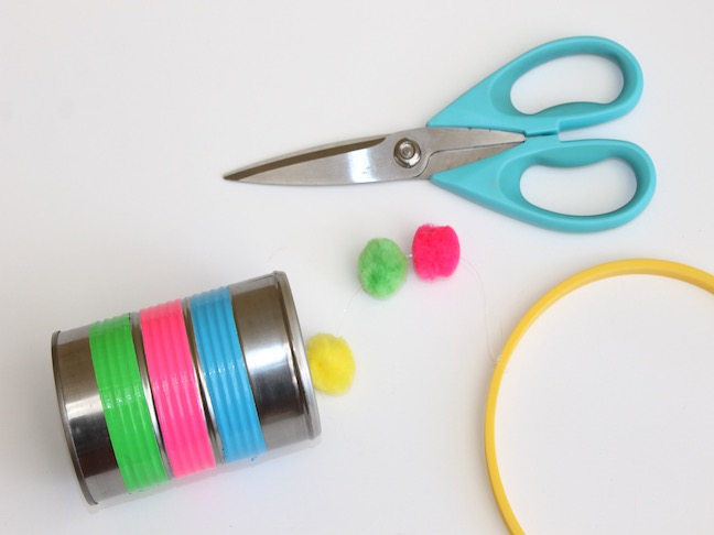 tin can duct tape pom poms scissors