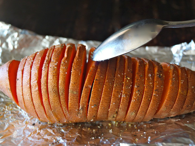 hasselback sweet potato on foil