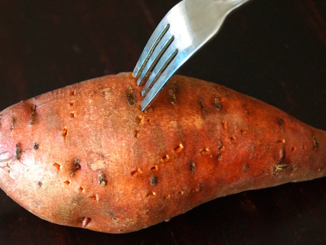 fork orange sweet potato
