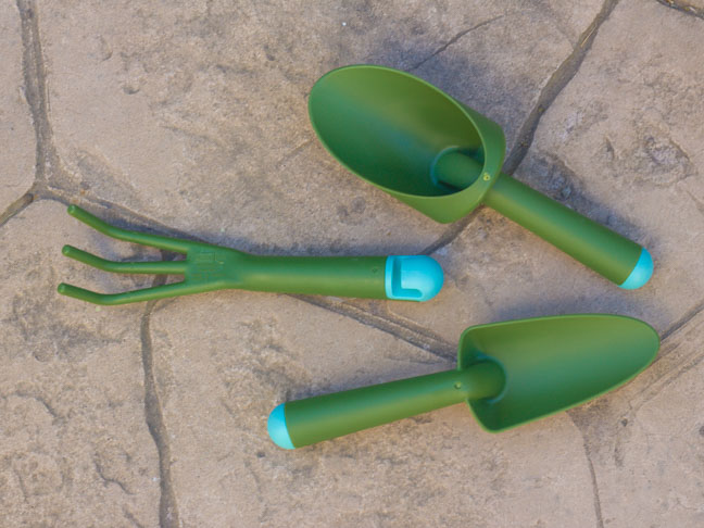 green plastic mini gardening tools