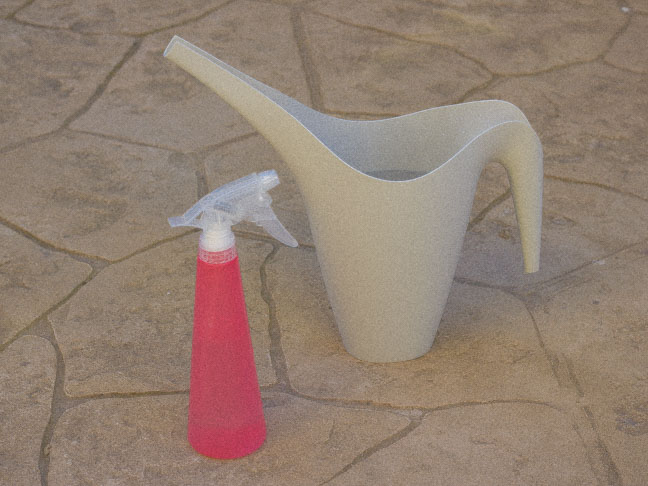 watering can and pink spray bottle