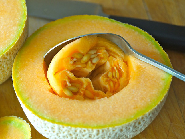 orange-melon-spoon-melon seeds