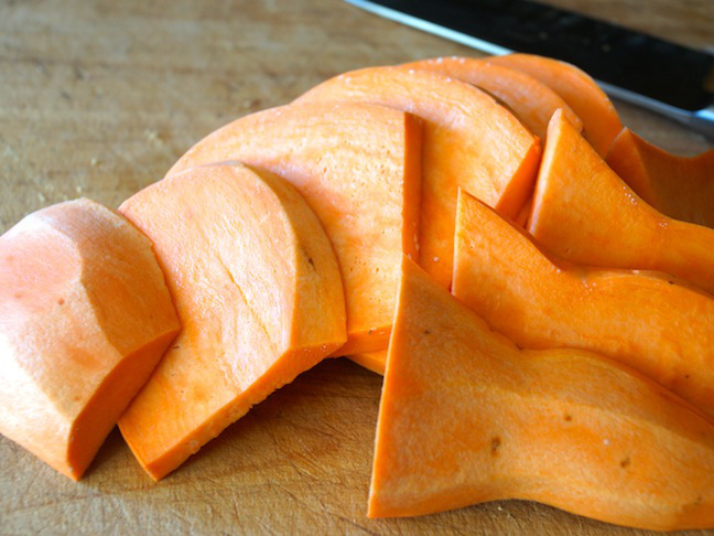 orange sweet potato slices