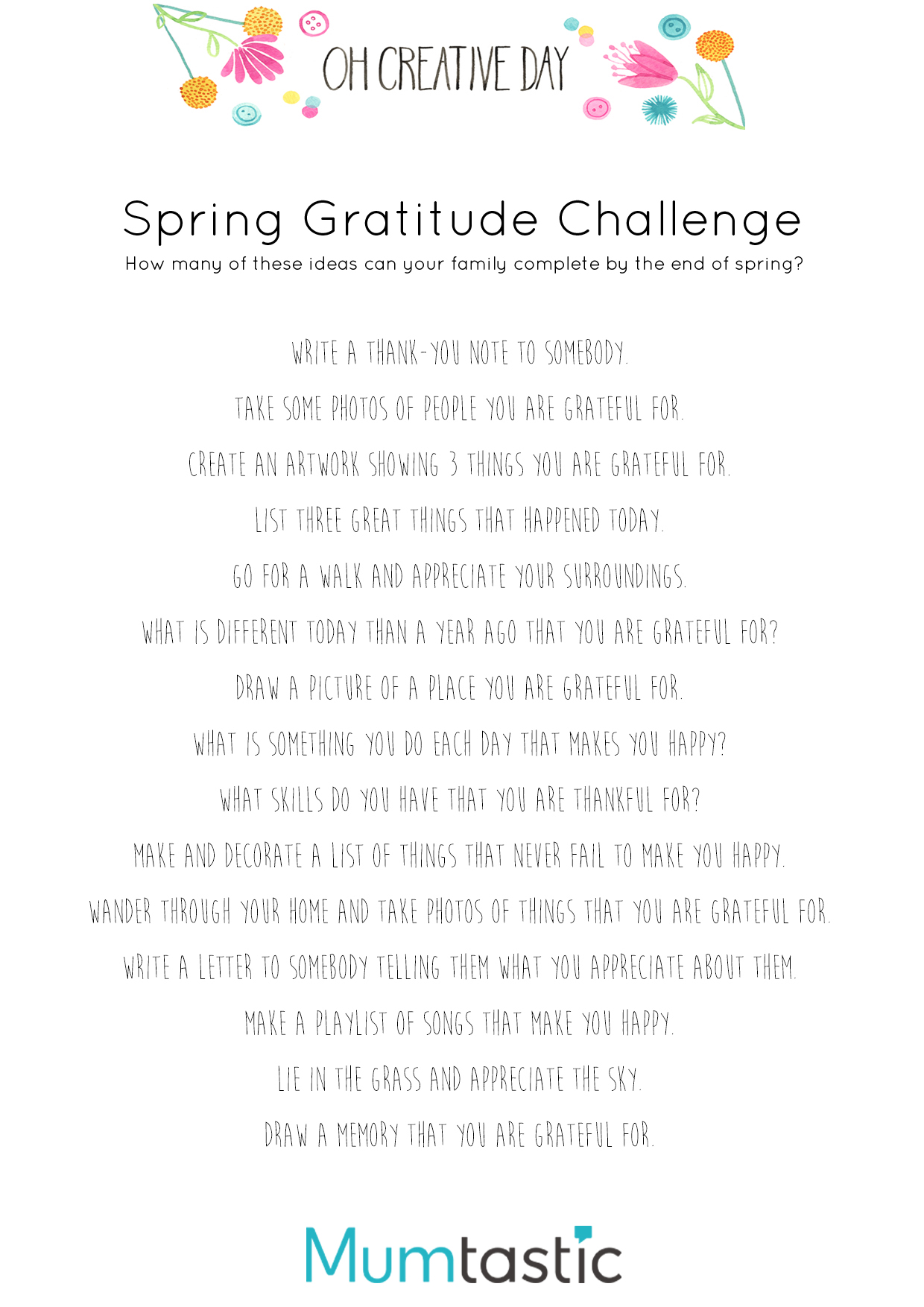 Oh Creative Day and Mumtastic Gratitude Challenge