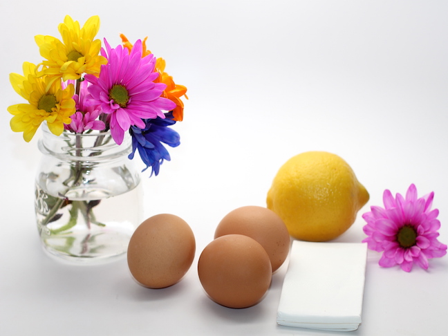 brown eggs lemon flowers tissue