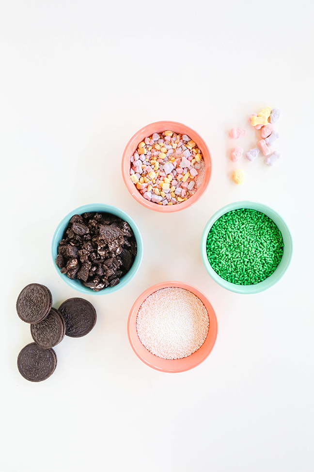 crushed oreos sprinkles candies in bowls