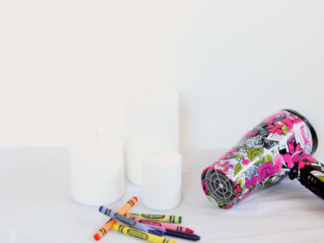 candles crayons hair dryer