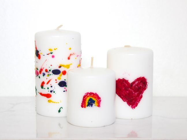 DIY rainbow heart candle made with melted crayons
