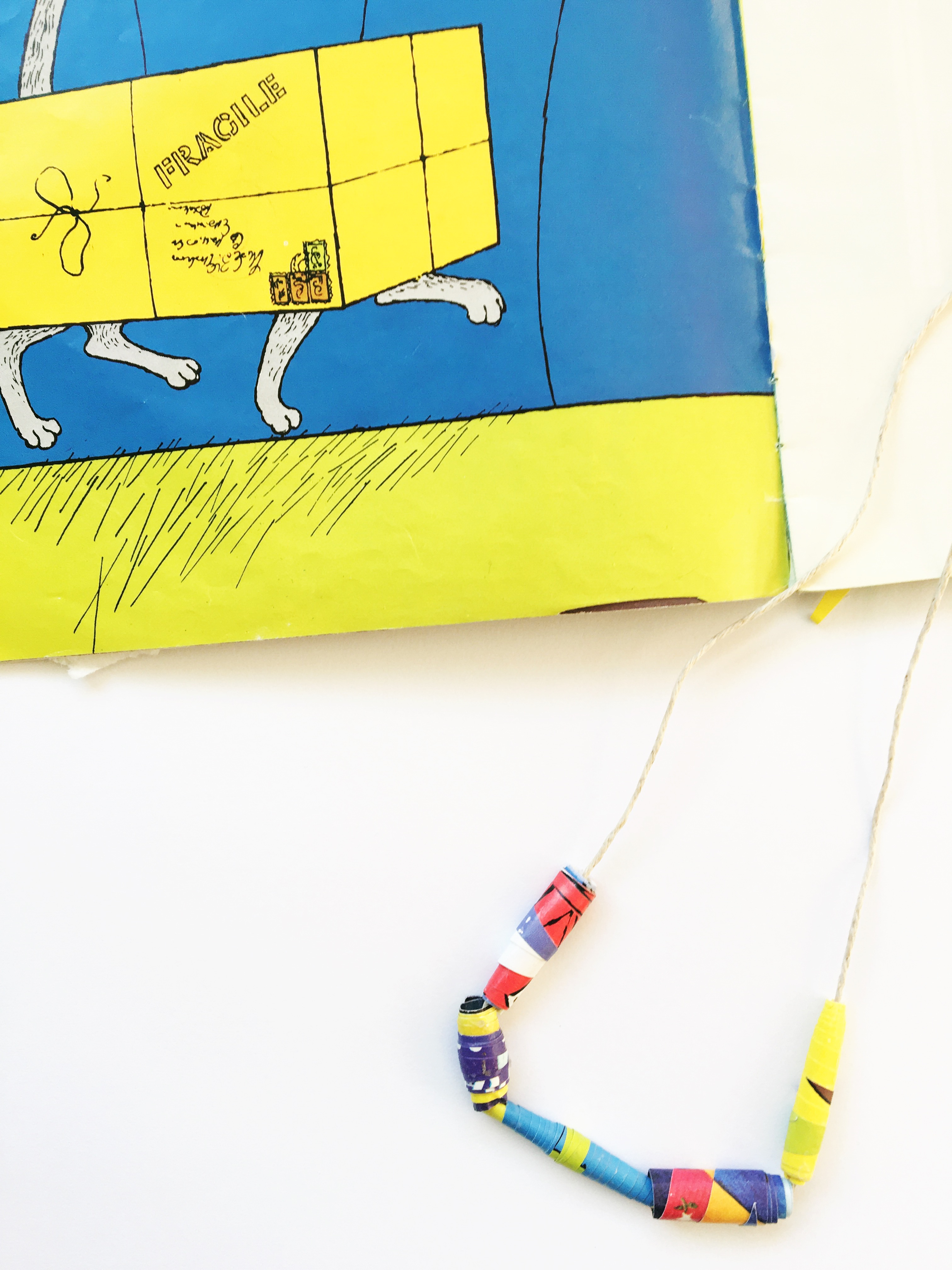 Make paper beads from old picture books - jewellery