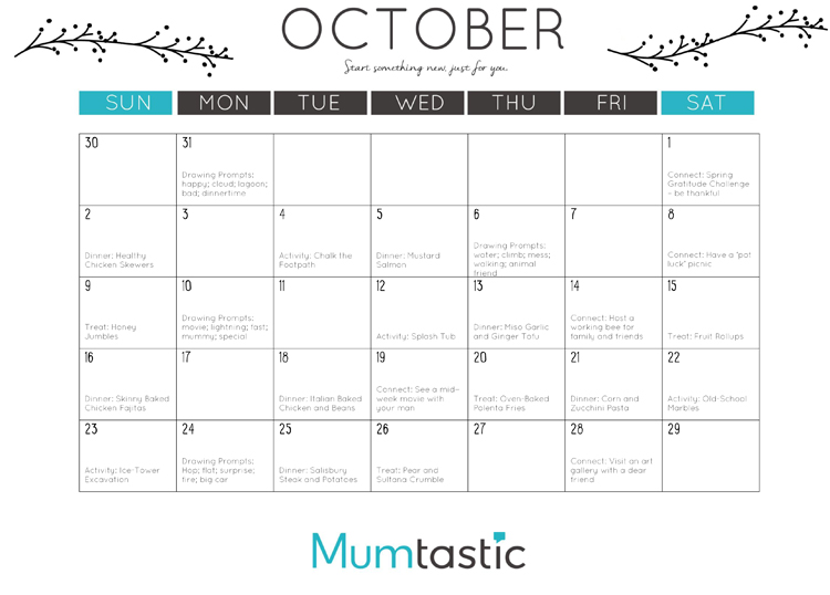 Printable October Calendar for Mums