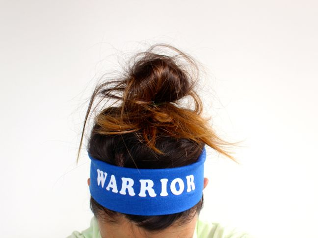 warrior-diy-headband-woman-messy-bun