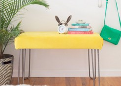 DIY Hairpin Leg Velvet Bench