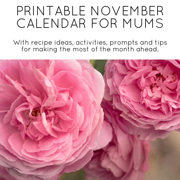 November Calendar for Mums - free printable