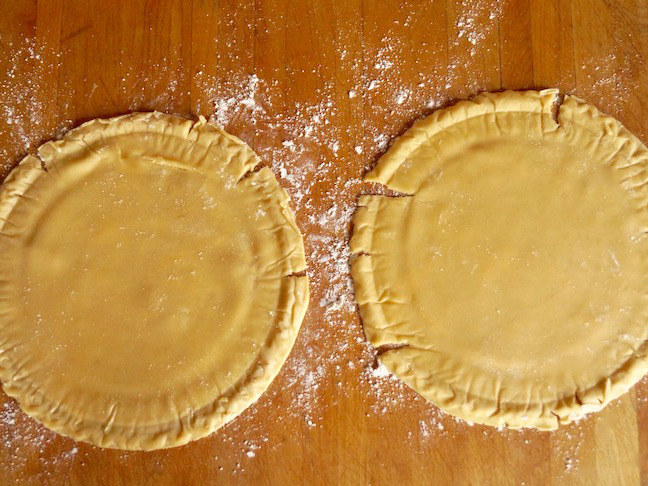 two round pie shells-beige