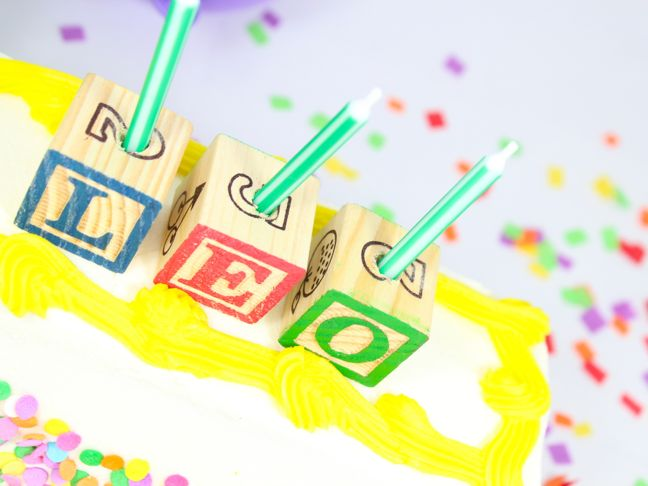 leo birthday cake abc letter block candles