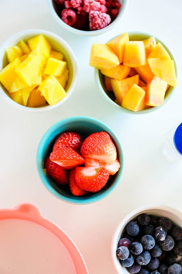 Ingredients for DIY Fruitastic Colorblocked Popsicles