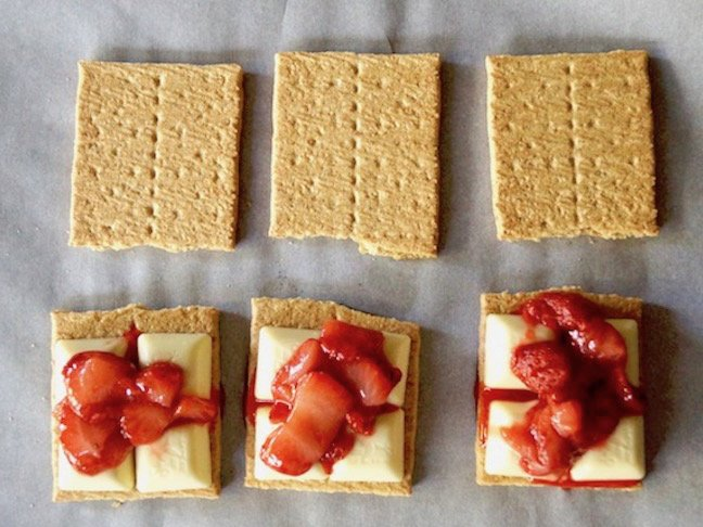 red-strawberries-graham crackers-beige-white chocolate