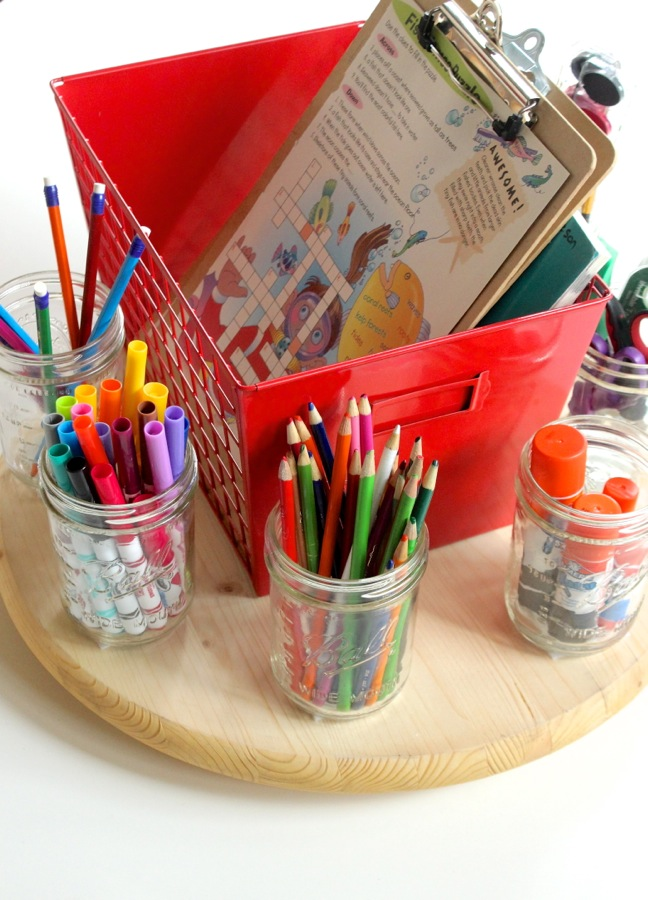 school-supplies-organized-in-mason-jars-on-a-wood-round-lazy-susan