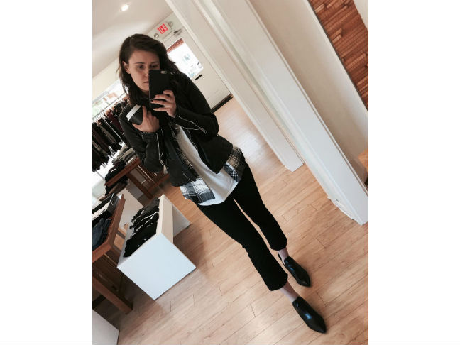 black pointy ankle boots with leather jacket and cropped pants