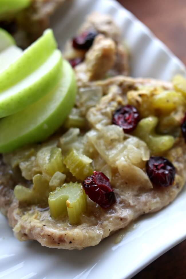 Slow Cooker Cranberry Apple Pork Chops--thin cut pork loin sirloin chops simmer with onion, celery, tart apple, apple juice and dijon mustard in the slow cooker and then are topped with dried cranberries to create a fresh seasonal flavored dish.