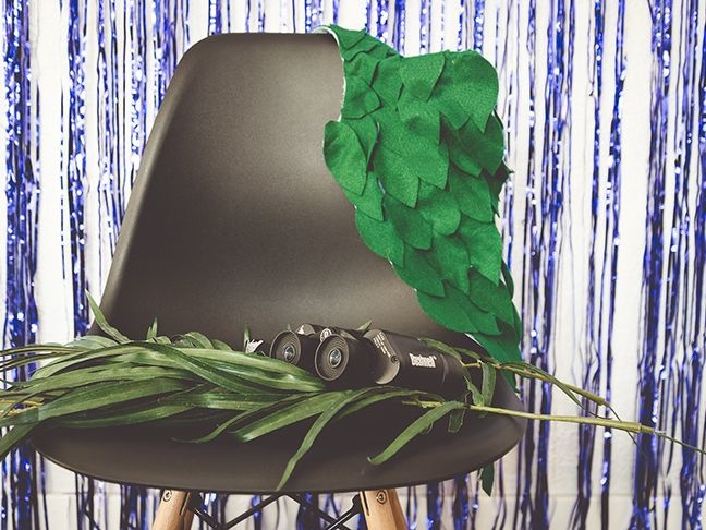 safari-photo-booth-props-binoculars-tropical-leaf